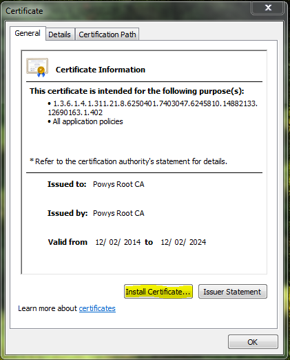 1. Click on Install Certificate.