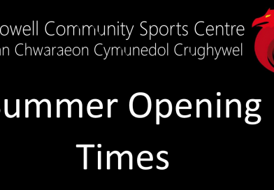 Summer Opening Times for our Sports Centre