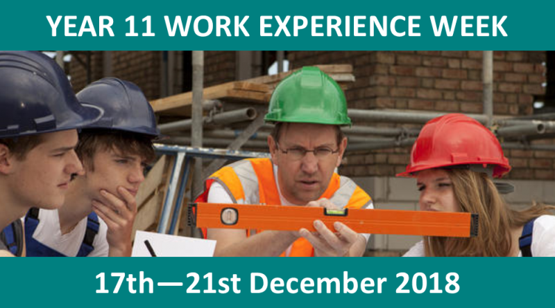Year 11 Work Experience 2018